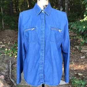 NY&Co Denim Button-Up Long Sleeve Shirt L GUC